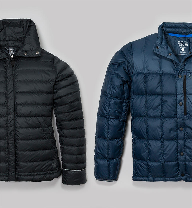 Partial view of two insulated jackets.