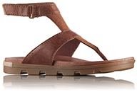 A brown thong sandal.