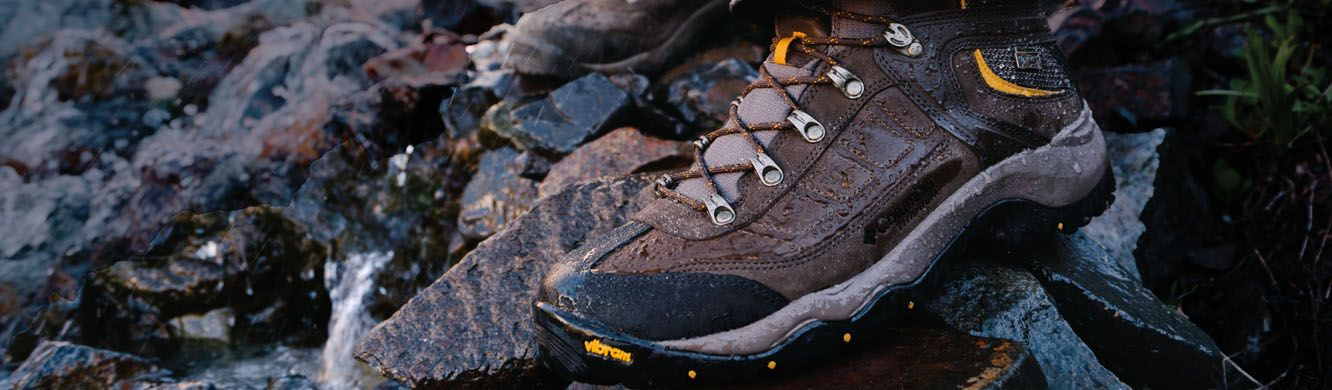 Close-up of a Columbia hiking boot.