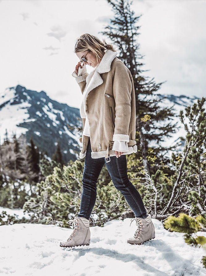 a8c78d2cd1a A winter bootie dressed for the holidays with gold-tone metal finishes and  elegant iridescent leather. Inspired by the look of mountain boots with its