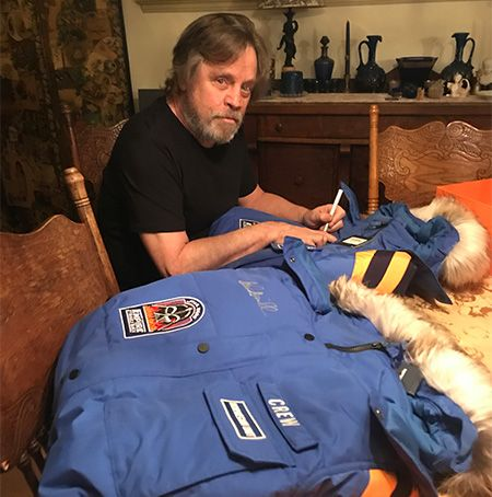 Mark Hamill signing Empire Crew Parka.