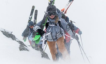 Skiers wearing gear with Omni-Heat 3D technology.