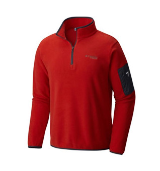 A men's red fleece shirt.