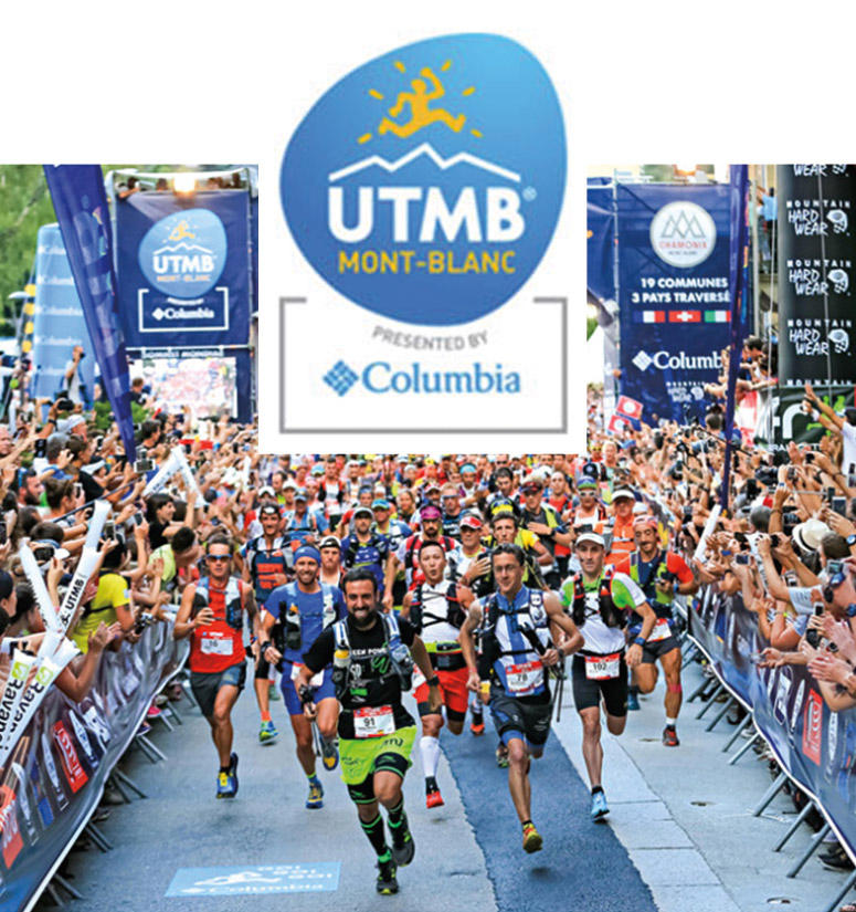 Runners at the start of the UTMB race. Play button for video about UTMB.
