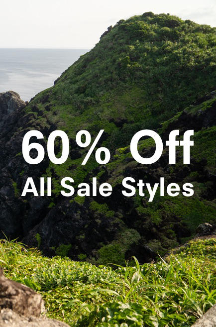 Banner of a cliff overlooking the ocean describes the last season's styles sale.