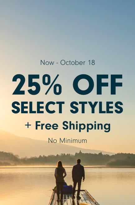 A man and a woman standing on a dock looking out over a lake in Japan describes the 25% Off Select Styles event.