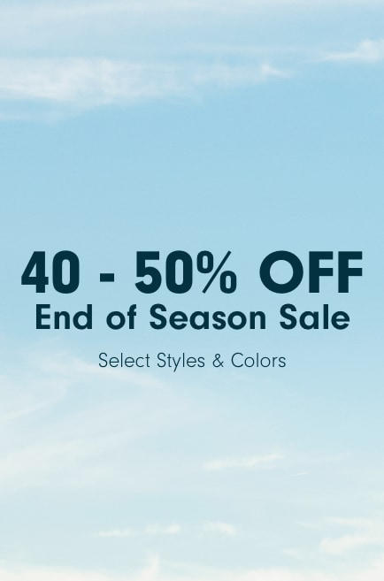 Banner of a blue sky describes the end-of-season sale.