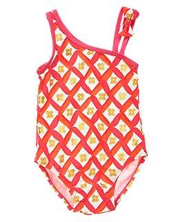 Crazy 8 Flower Tile One-Shoulder Swimsuit Spring Break