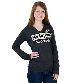 San Antonio Spurs Adidas Womens Straight Talk Long Sleeve Hooded Tee