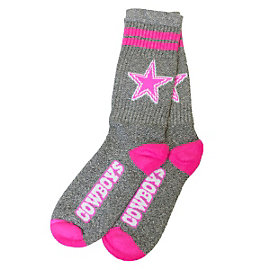 Dallas Cowboys Two Stripe Neon Pink Socks
