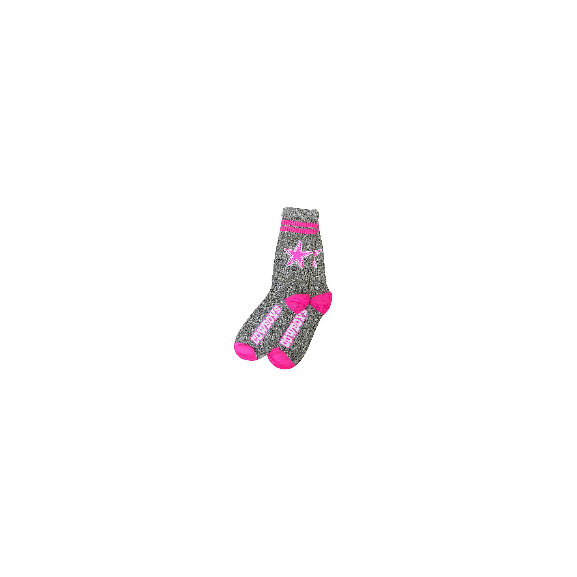 Dallas Cowboys Two Stripe Neon Pink Socks