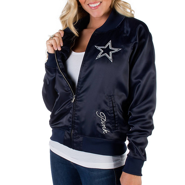 Dallas Cowboys PINK Satin Bomber Jacket | Outerwear