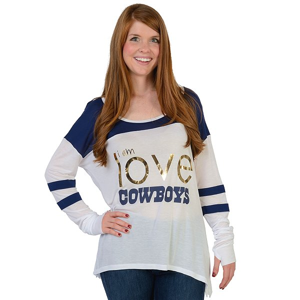 Dallas Cowboys Peace Love World Tomboy Long Sleeve Tee