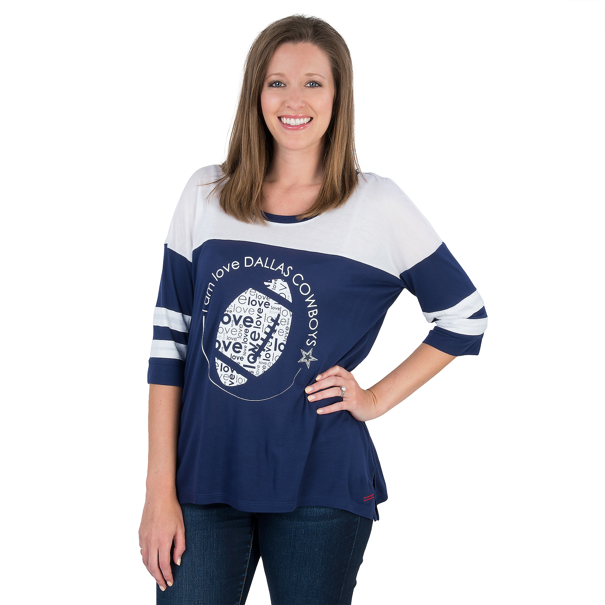 Dallas Cowboys Peace Love World Short Sleeve Tomboy