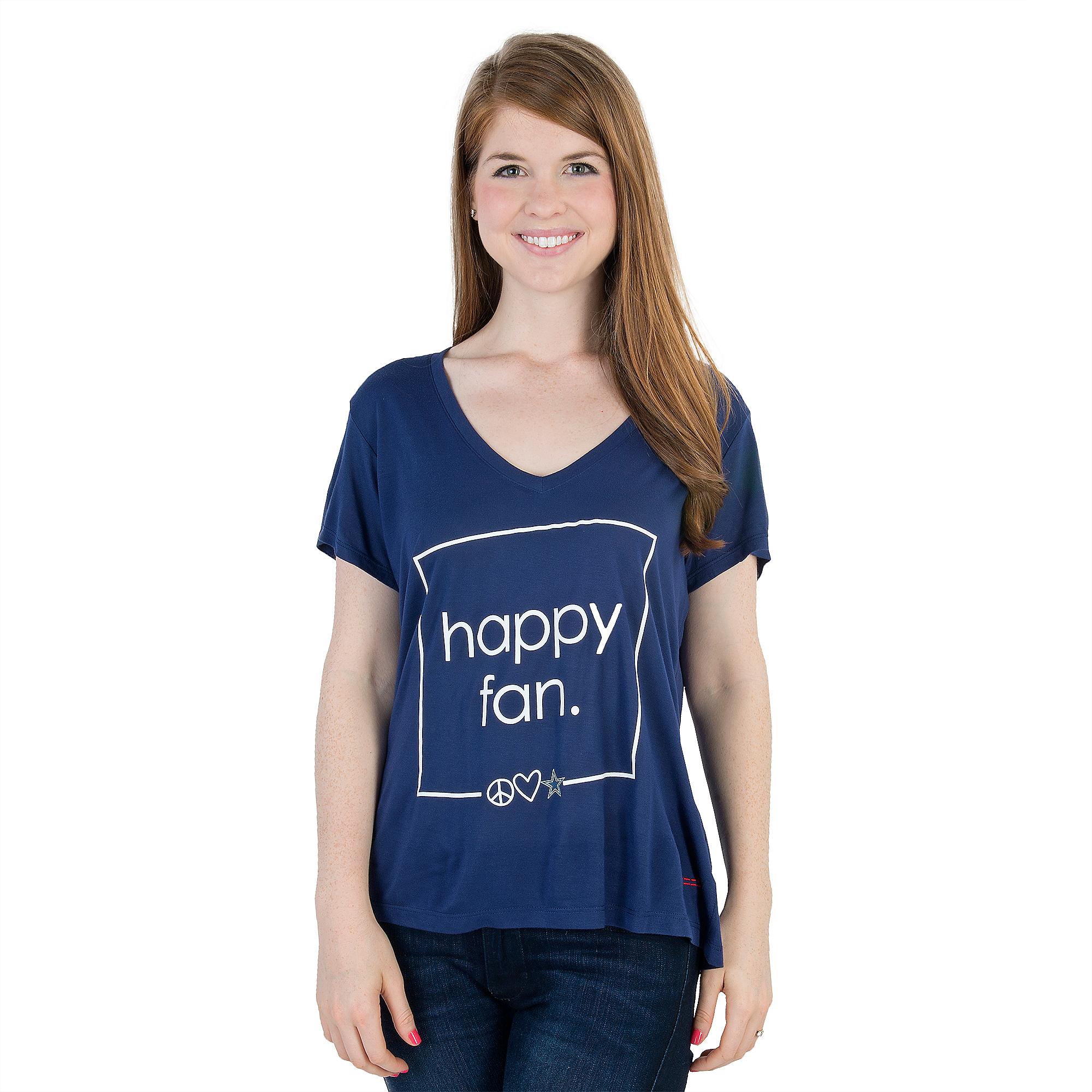Dallas Cowboys Peace Love World Happy Fan Victoria Tee