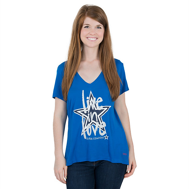 Dallas Cowboys Peace Love World Mimi V-Neck Tee
