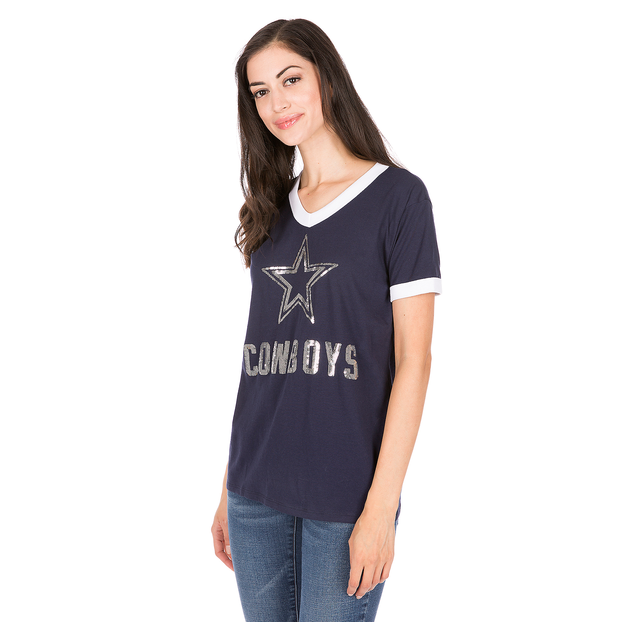 Dallas Cowboys PINK Bling Perfect V-Neck Ringer Tee