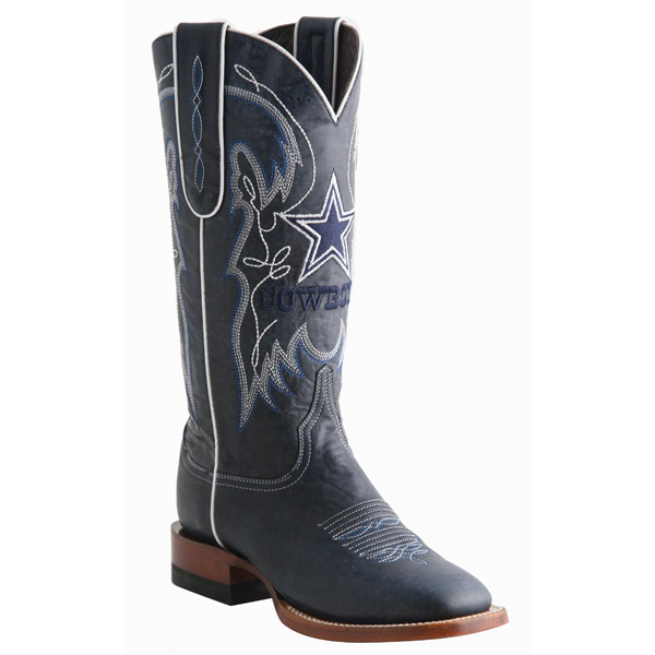 Dallas Cowboys Lucchese Womens Navy Square Toe Boot - Width B