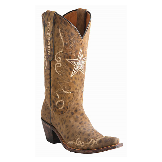 Dallas Cowboys Lucchese Womens Camel Cheetah Swarovski Boot ...