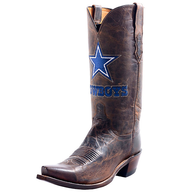 Dallas Cowboys Lucchese Mens Tan Madras Western Boot - Width D