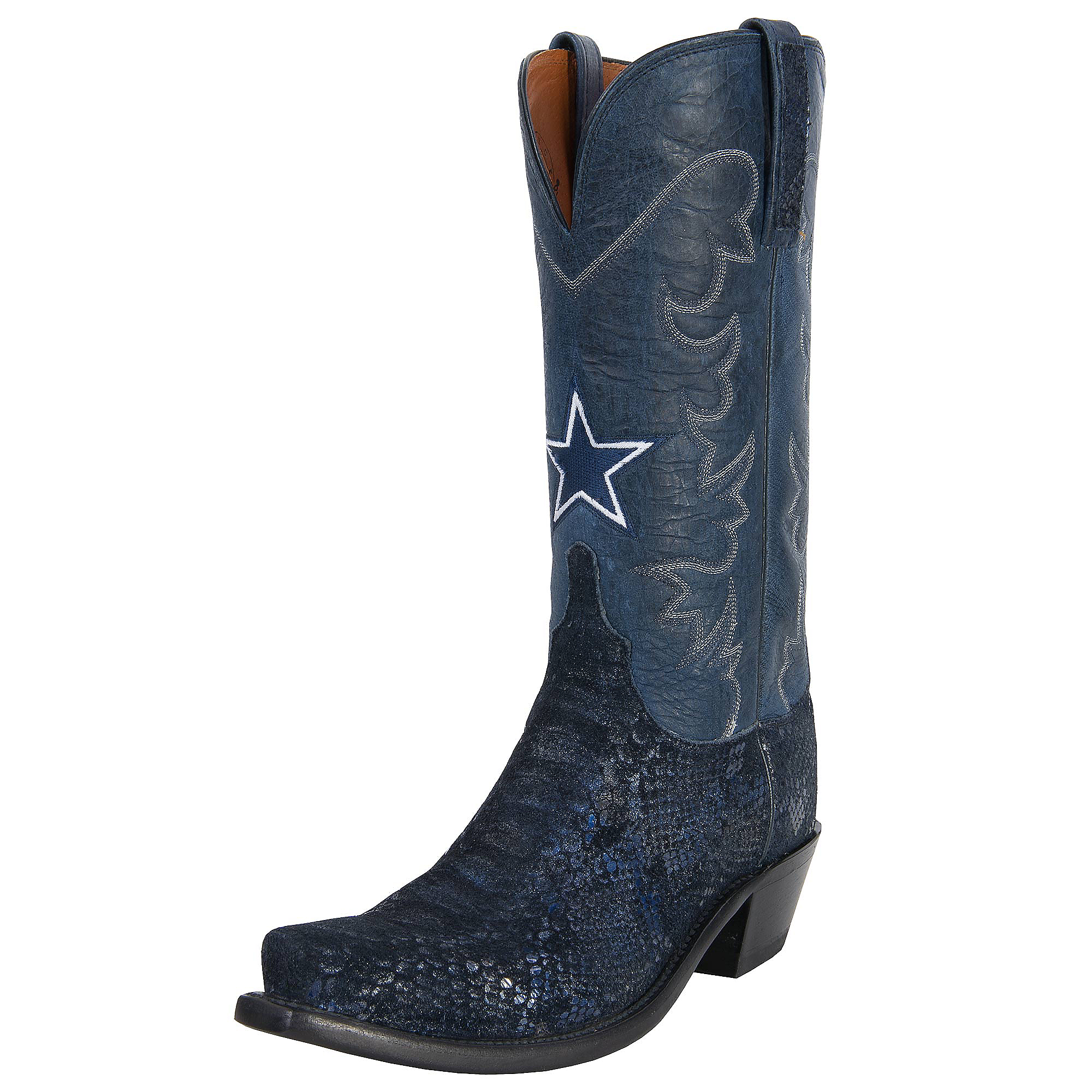 Dallas Cowboys Lucchese Womens Snake Print Boot - Width B