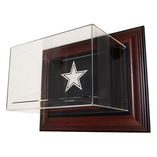 Dallas Cowboys Wall Mounted Football Case w/ Mahogany Wood
