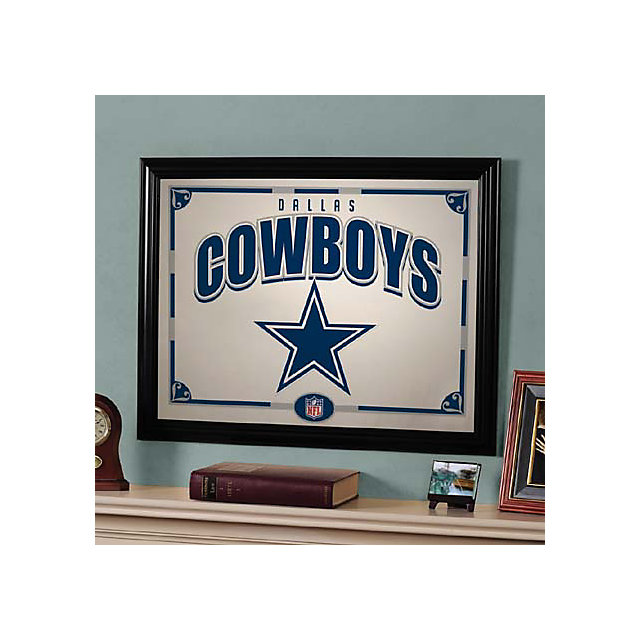 dallas cowboys black framed mirror home decor home With kitchen cabinets lowes with dallas cowboys wall art