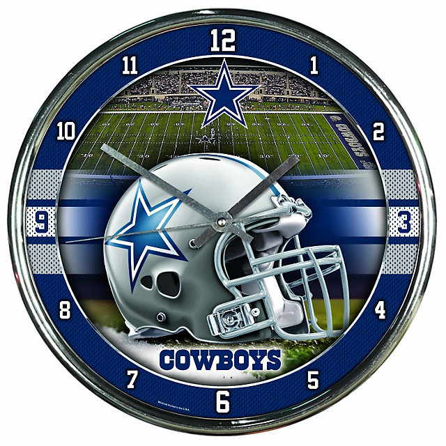 Dallas Cowboys Chrome Graphic Clock