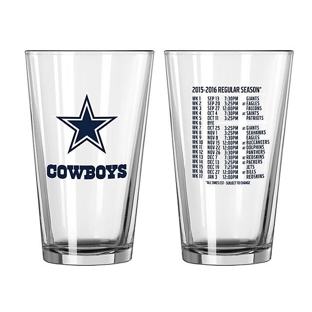 Dallas Cowboys Schedule Pint Glass