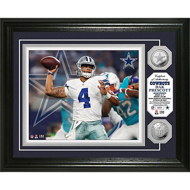 Dallas Cowboys 13 x 16 Dak Prescott Coin Photo Mint