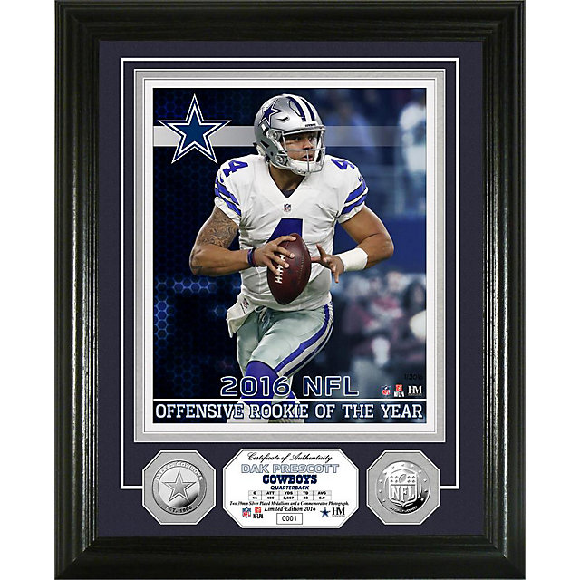 Dallas Cowboys Dak Prescott 2016 Rookie of the Year Silver Coin Photo Mint