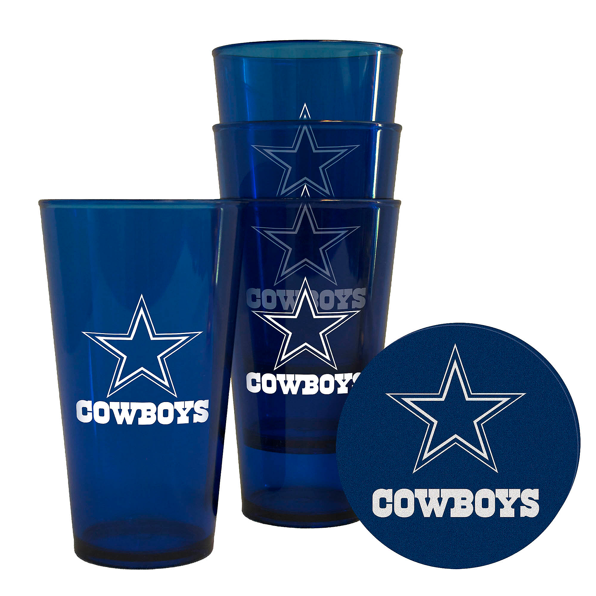 Dallas Cowboys Stainless Steel Coasters 4 Pack: Dallas Cowboys 4 Pack Plastic Pint With Coaster Set