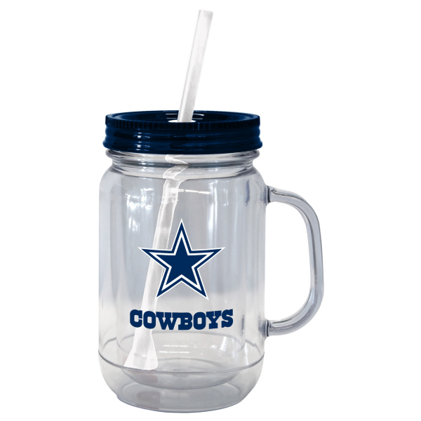 Dallas Cowboys 20 oz. Acrylic Mason Jar Straw Tumbler
