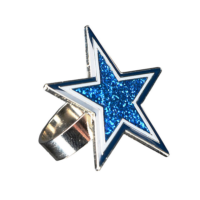 dallas cowboys navy glitter star ring jewelry