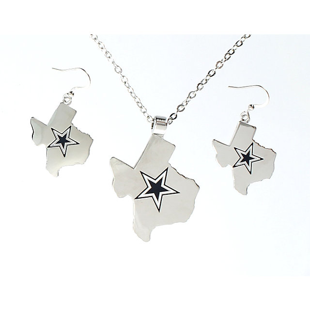 Dallas cowboys solid state of texas star pendant and earring set dallas cowboys solid state of texas star pendant and earring set jewelry accessories womens cowboys catalog dallas cowboys pro shop aloadofball Images