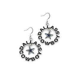 Dallas Cowboys Glitter Round Wordmark Earrings