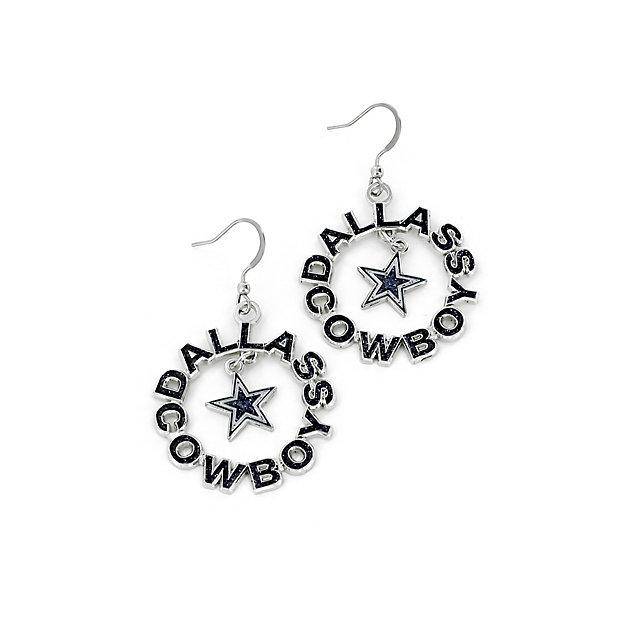 Dallas Cowboys Glitter Round Wordmark Earrings