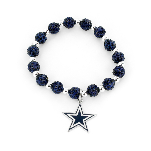 Dallas Cowboys Navy Pebble Bead Bracelet
