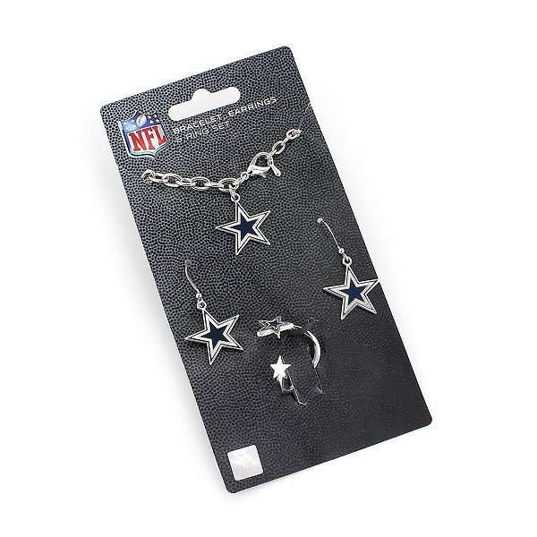 Dallas Cowboys 4-Piece Star Earring, Bracelet, Ring Set