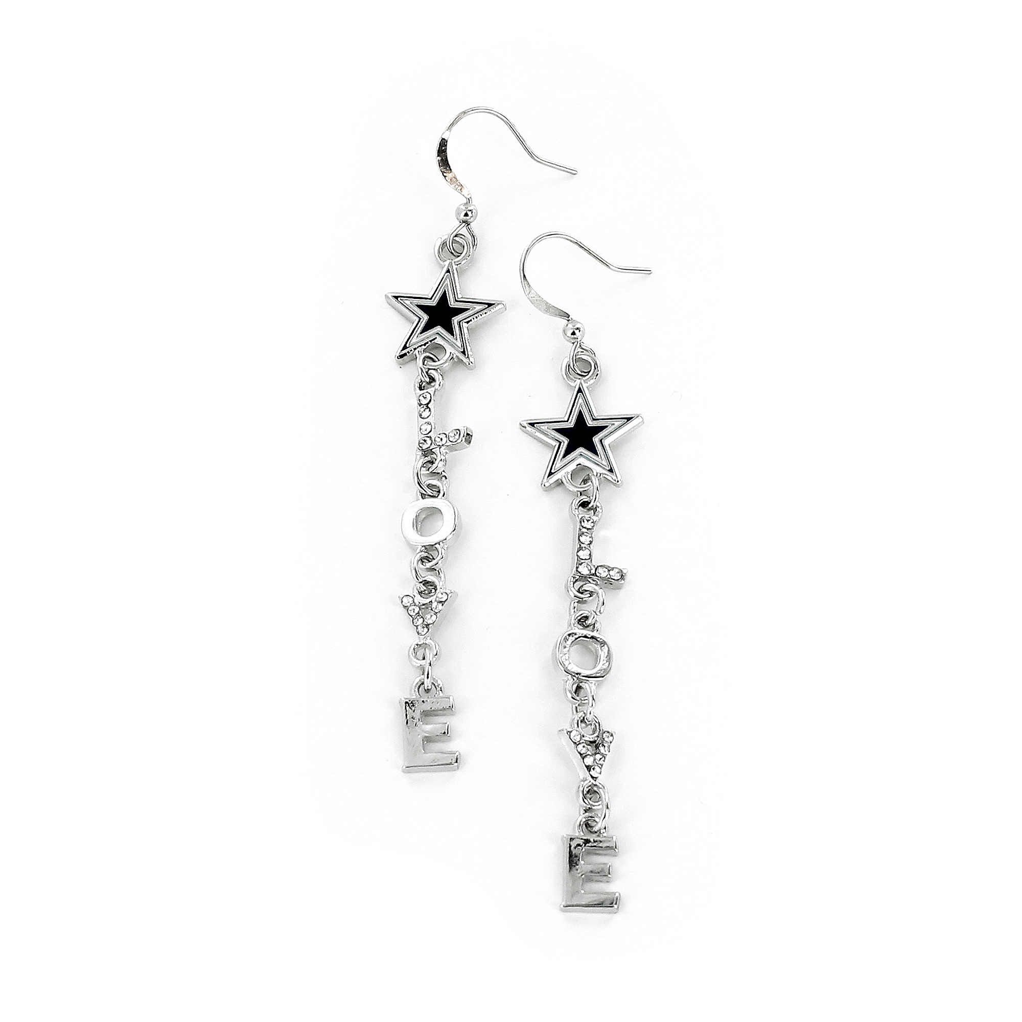 Dallas Cowboys Love Dangler Star Earrings