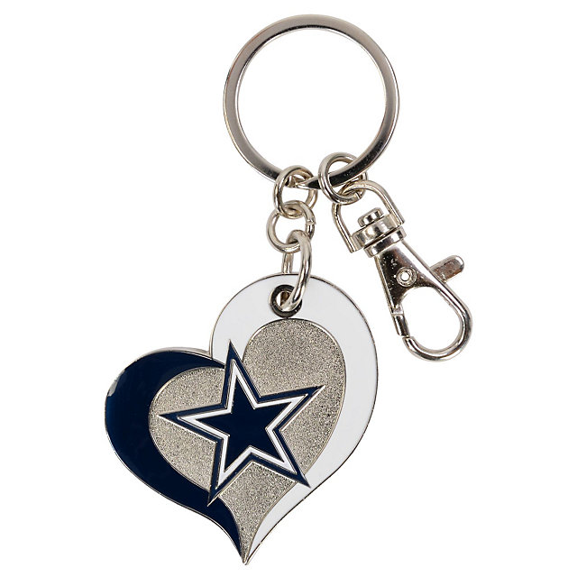 Dallas Cowboys Swirl Heart Key Ring