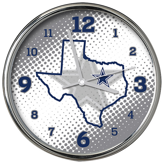 Dallas Cowboys State of Mind Chrome Clock