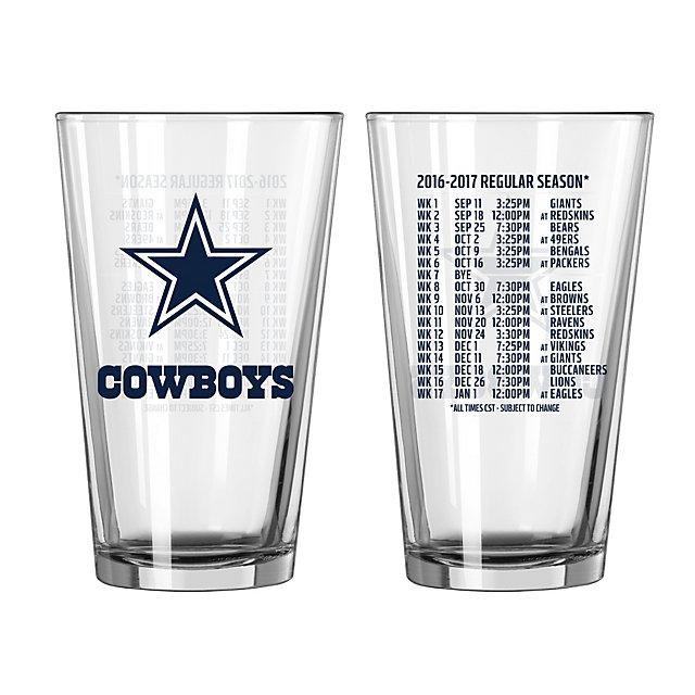 Dallas Cowboys 2016 Schedule Pint Glass