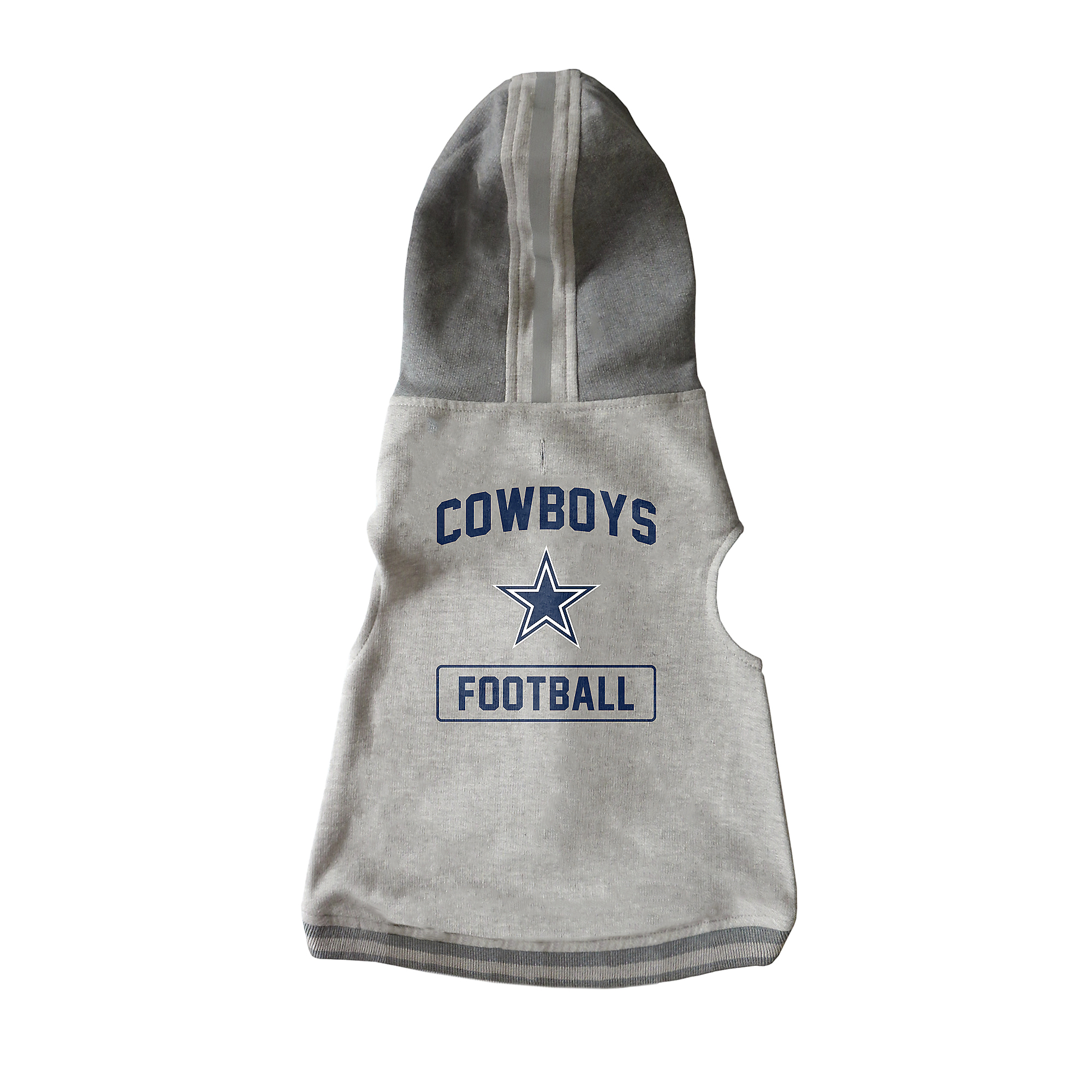 Dallas Cowboys Grey Pet Hooded Crewneck Small-Large