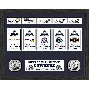 Dallas Cowboys Super Bowl Banner Collection & Mint Frame