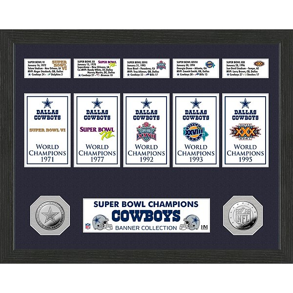 Dallas Cowboys Super Bowl Banner Collection & Mint Frame