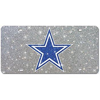 Dallas Cowboys Logo Silver Glitter License Plate