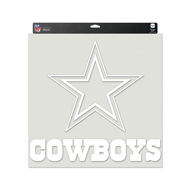 Dallas Cowboys 17x17 White Logo with Wordmark Decal