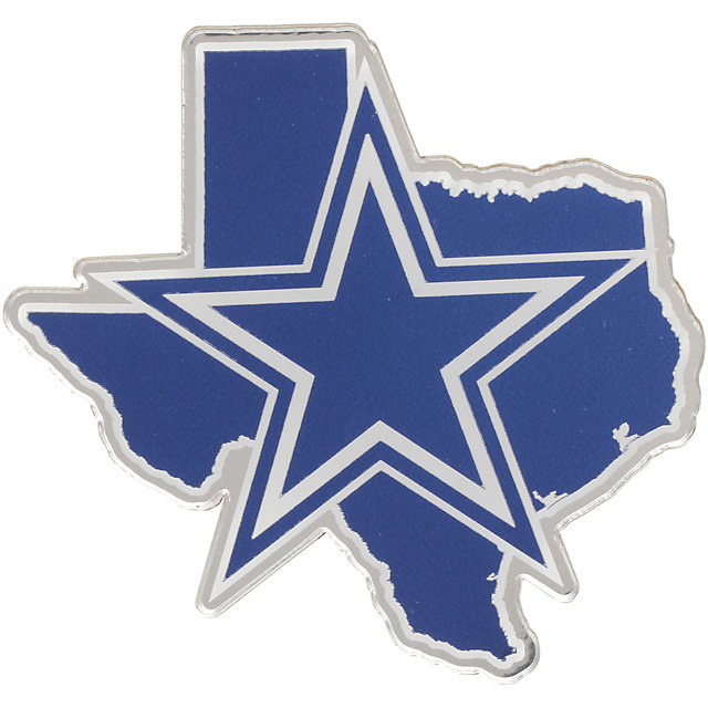 Dallas Cowboys Metallic Silver Texas State Emblem