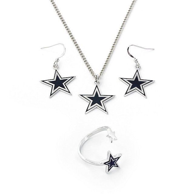Dallas Cowboys 3-Piece Star Necklace, Earring & Ring Set